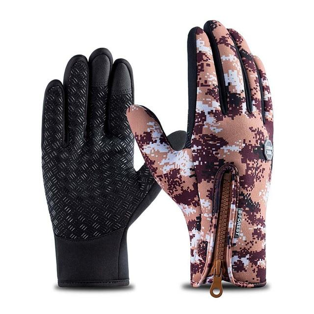 Cycling Gloves Bicycle Warm Touchscreen Full Finger Gloves Bikewest.com Camo Brown S