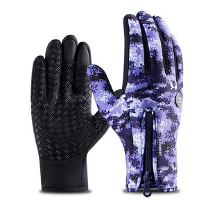 Cycling Gloves Bicycle Warm Touchscreen Full Finger Gloves Bikewest.com Camo Purple XL