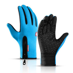Cycling Gloves Bicycle Warm Touchscreen Full Finger Gloves Bikewest.com Light Blue XL
