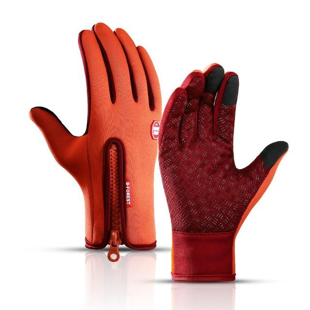 Cycling Gloves Bicycle Warm Touchscreen Full Finger Gloves Bikewest.com Orange XL