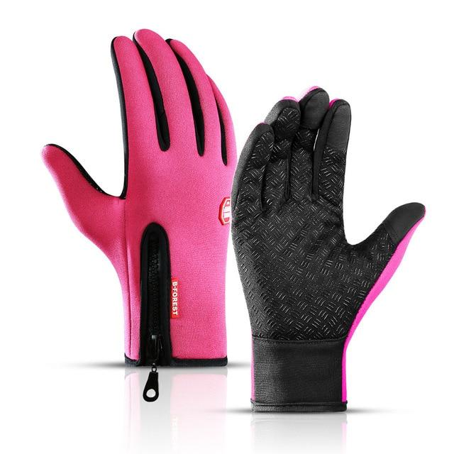 Cycling Gloves Bicycle Warm Touchscreen Full Finger Gloves Bikewest.com Pink S