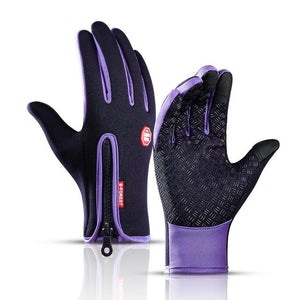 Cycling Gloves Bicycle Warm Touchscreen Full Finger Gloves Bikewest.com Purple XL