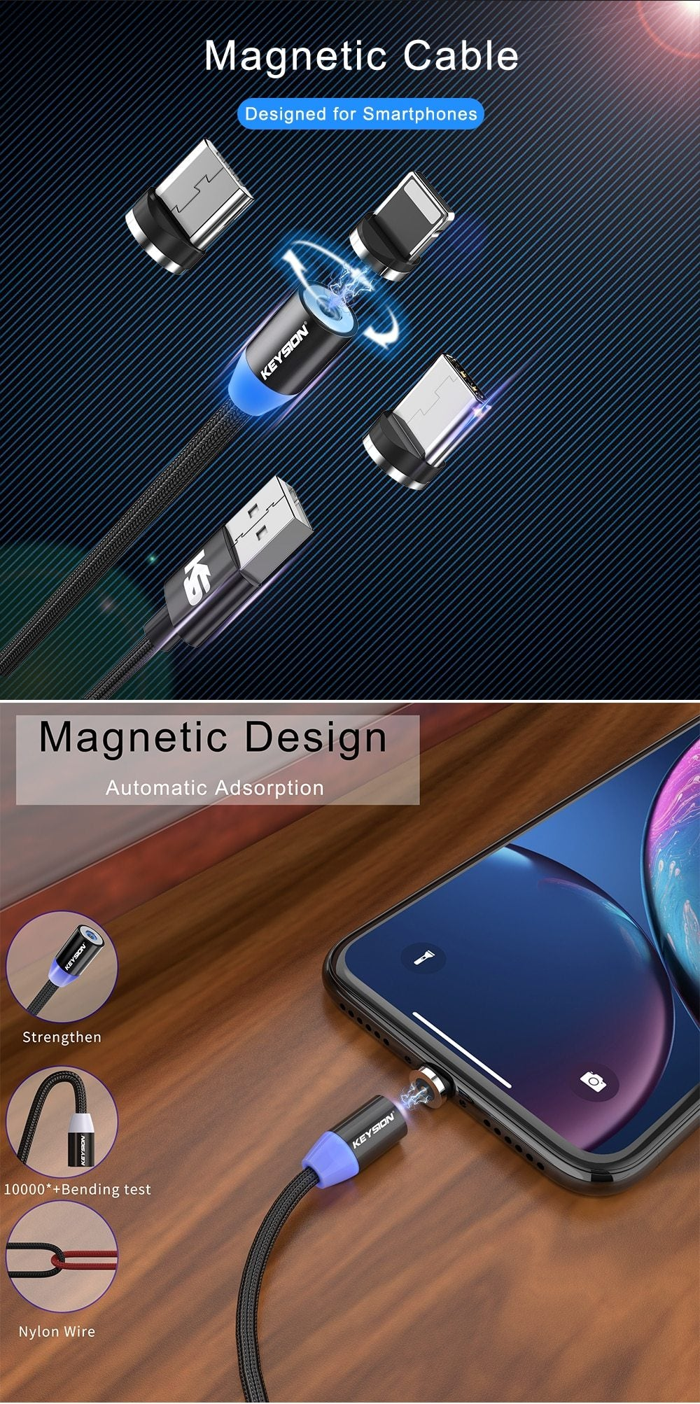 Magnetic USB Cable Fast Charging Type C Bikewest.com