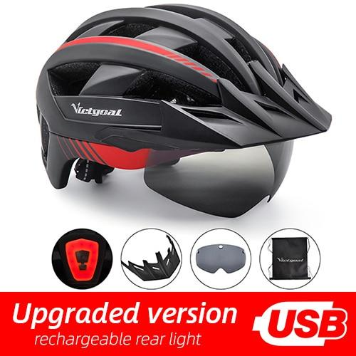 Mountain Road Bike Helmet With Sun Visor Goggles Bikewest.com BlackRed Helmet 2