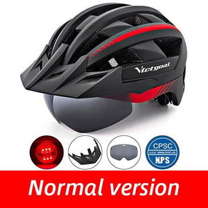Mountain Road Bike Helmet With Sun Visor Goggles Bikewest.com BlackRed Helmet