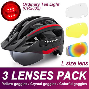 Mountain Road Bike Helmet With Sun Visor Goggles Bikewest.com Normal Model -3PCS