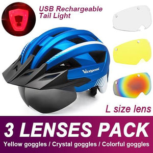 Mountain Road Bike Helmet With Sun Visor Goggles Bikewest.com Upgrade Model -3PCS 3