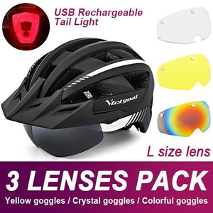 Mountain Road Bike Helmet With Sun Visor Goggles Bikewest.com Upgrade Model -3PCS 4