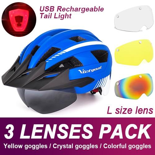 Mountain Road Bike Helmet With Sun Visor Goggles Bikewest.com Upgrade Model -3PCS 5