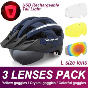 Mountain Road Bike Helmet With Sun Visor Goggles Bikewest.com Upgrade Model -3PCS 6