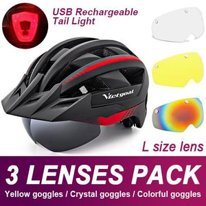 Mountain Road Bike Helmet With Sun Visor Goggles Bikewest.com Upgrade Model -3PCS