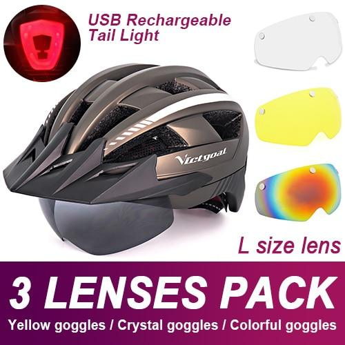 Mountain Road Bike Helmet With Sun Visor Goggles Bikewest.com Upgrade Model -3PCS 7