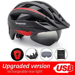 Load image into Gallery viewer, MTB LED Bicycle Helmet USB Rechargeable Taillight Bikewest.com BlackRed USB LED