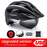 Load image into Gallery viewer, MTB LED Bicycle Helmet USB Rechargeable Taillight Bikewest.com BlackWhite USB LED