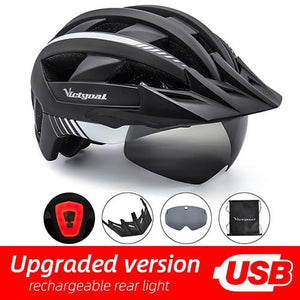MTB LED Bicycle Helmet USB Rechargeable Taillight Bikewest.com BlackWhite USB LED