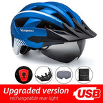 Load image into Gallery viewer, MTB LED Bicycle Helmet USB Rechargeable Taillight Bikewest.com MetalBlue USB LED