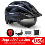 Load image into Gallery viewer, MTB LED Bicycle Helmet USB Rechargeable Taillight Bikewest.com Navy USB LED