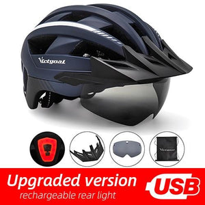 MTB LED Bicycle Helmet USB Rechargeable Taillight Bikewest.com Navy USB LED