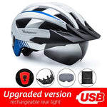 Load image into Gallery viewer, MTB LED Bicycle Helmet USB Rechargeable Taillight Bikewest.com Silver USB LED