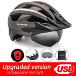 Load image into Gallery viewer, MTB LED Bicycle Helmet USB Rechargeable Taillight Bikewest.com Ti USB LED