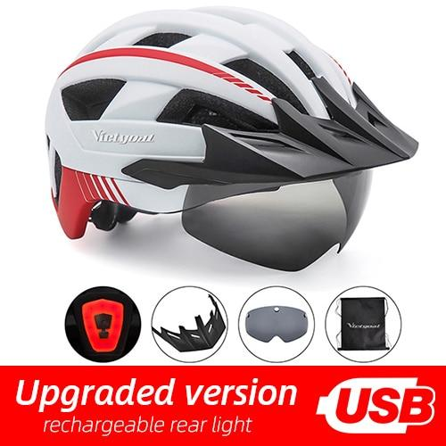 MTB LED Bicycle Helmet USB Rechargeable Taillight Bikewest.com White USB LED
