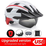 Load image into Gallery viewer, MTB LED Bicycle Helmet USB Rechargeable Taillight Bikewest.com White USB LED