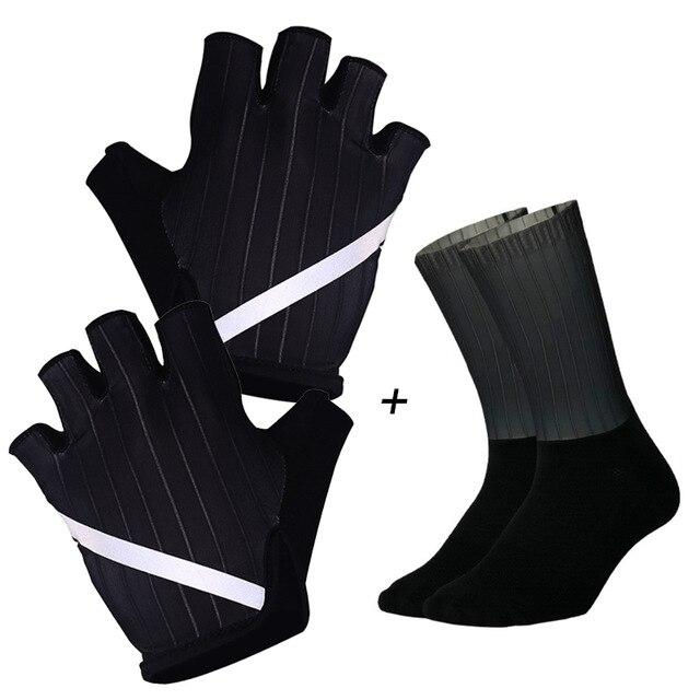 New Cycling Gloves Highly Reflective with Anti Slip Socks Bikewest.com Set Black L