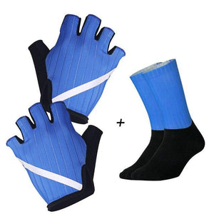 New Cycling Gloves Highly Reflective with Anti Slip Socks Bikewest.com Set Blue XL