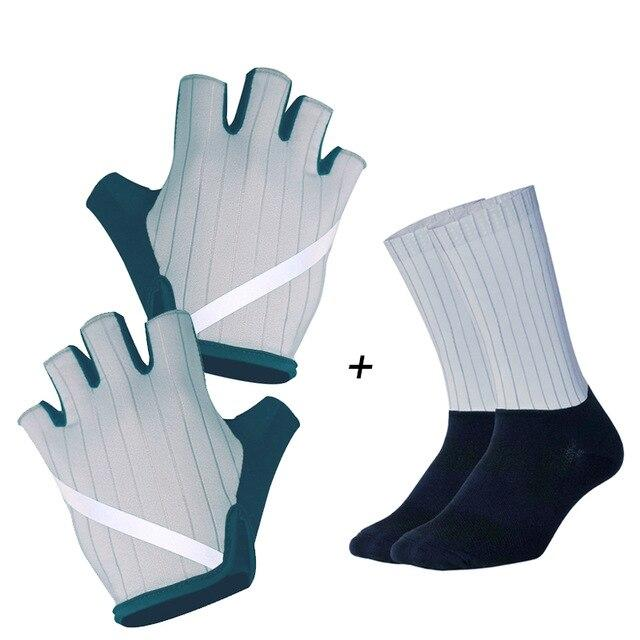 New Cycling Gloves Highly Reflective with Anti Slip Socks Bikewest.com Set Gray M