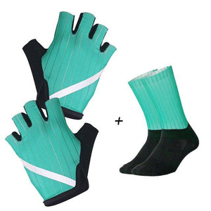 New Cycling Gloves Highly Reflective with Anti Slip Socks Bikewest.com Set Green XL