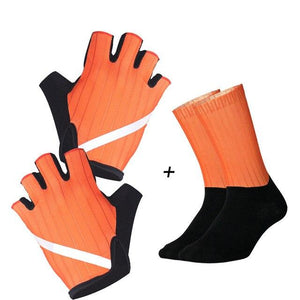 New Cycling Gloves Highly Reflective with Anti Slip Socks Bikewest.com Set Orange XL