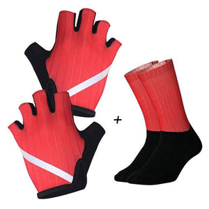 New Cycling Gloves Highly Reflective with Anti Slip Socks Bikewest.com Set Red XL