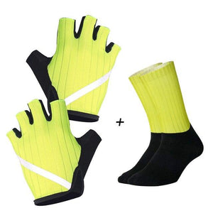 New Cycling Gloves Highly Reflective with Anti Slip Socks Bikewest.com Set Yellow XL