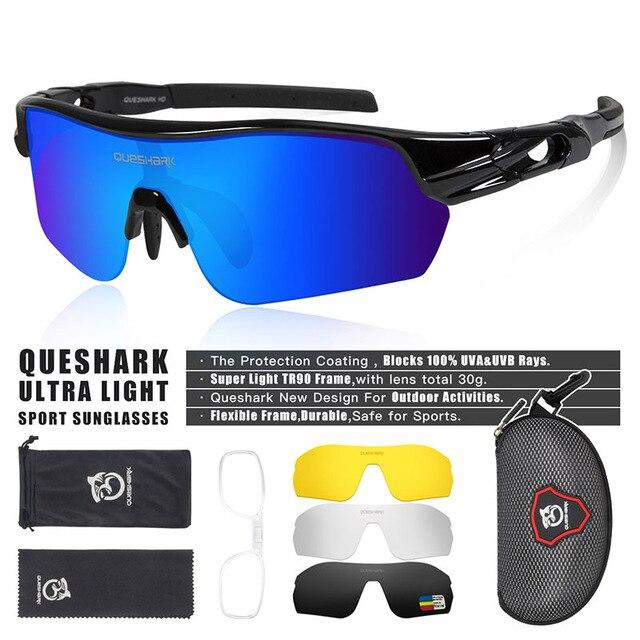 New Design Polarized Sport Sunglasses 4 HD Bikewest.com Black Blue