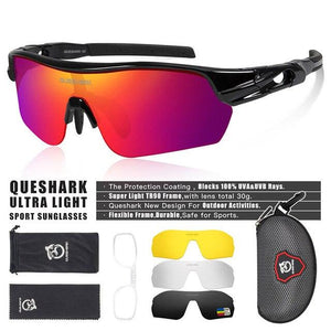 New Design Polarized Sport Sunglasses 4 HD Bikewest.com Black Red