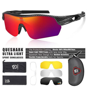 New Design Polarized Sport Sunglasses 4 HD Bikewest.com Carbon Style Red