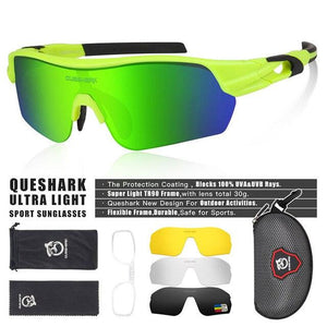 New Design Polarized Sport Sunglasses 4 HD Bikewest.com Fluorescent Green