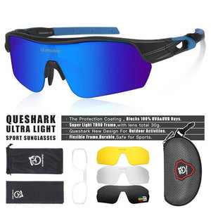 New Design Polarized Sport Sunglasses 4 HD Bikewest.com Matte Black Blue