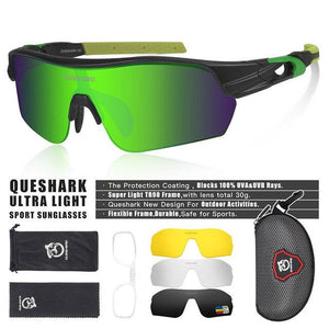 New Design Polarized Sport Sunglasses 4 HD Bikewest.com Matte Black Green