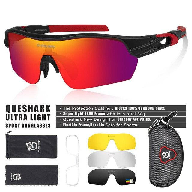 New Design Polarized Sport Sunglasses 4 HD Bikewest.com Matte Black Red