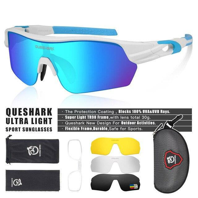New Design Polarized Sport Sunglasses 4 HD Bikewest.com White BLue