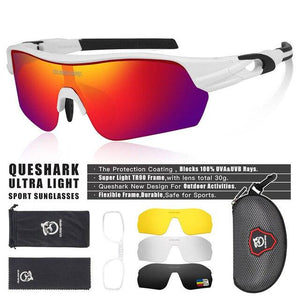 New Design Polarized Sport Sunglasses 4 HD Bikewest.com White Red