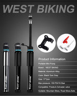 Load image into Gallery viewer, Portable Bicycle Pump 150PSI Presta/Schrader Bikewest.com