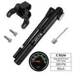 Load image into Gallery viewer, Portable Bike Pump Gauge High Pressure Hand Pump Bikewest.com C Style Black China