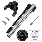 Load image into Gallery viewer, Portable Bike Pump Gauge High Pressure Hand Pump Bikewest.com C Style Silver China