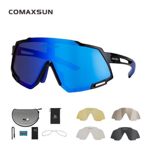 Professional Polarized 5 Len Cycling Glasses Bikewest.com Style 2 Black Blue 5 Lens