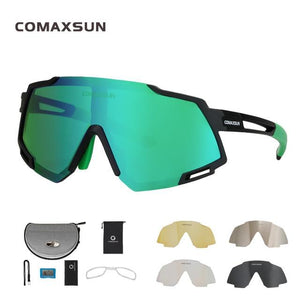 Professional Polarized 5 Len Cycling Glasses Bikewest.com Style 2 Black Green 5 Lens