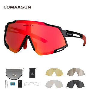 Professional Polarized 5 Len Cycling Glasses Bikewest.com Style 2 Black Red 5 Lens