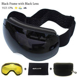 Load image into Gallery viewer, Ski Goggles with Magnetic Double Layers Lens polarized Bikewest.com Black Black