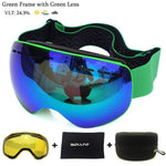 Load image into Gallery viewer, Ski Goggles with Magnetic Double Layers Lens polarized Bikewest.com Green Green
